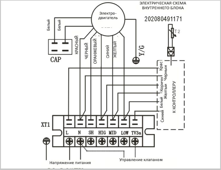 Схема пульта фанкойла